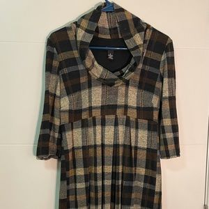 New Directions Cowl Neck Plaid Sweater Dress